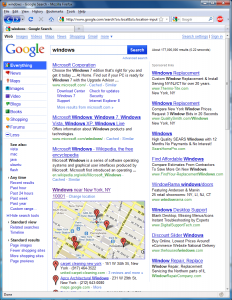 "Screenshot of redesigned Google search results for ""Windows"" even with AdBlock Plus"